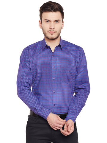 Hancock Purple Printed Pure Cotton Slim Fit Formal Shirt