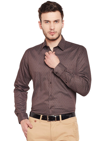Hancock Brown Printed Pure Cotton Slim Fit Formal Shirt