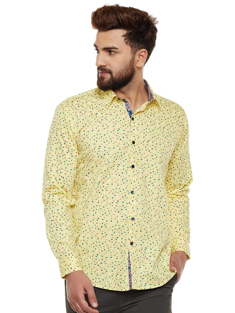 Hancock Men's  Yellow Printed Slim Fit Pure Cotton Casual Shirt