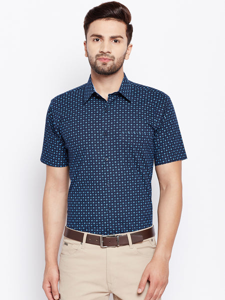 Hancock Navy Printed Half Sleeve Slim Fit Formal Shirt