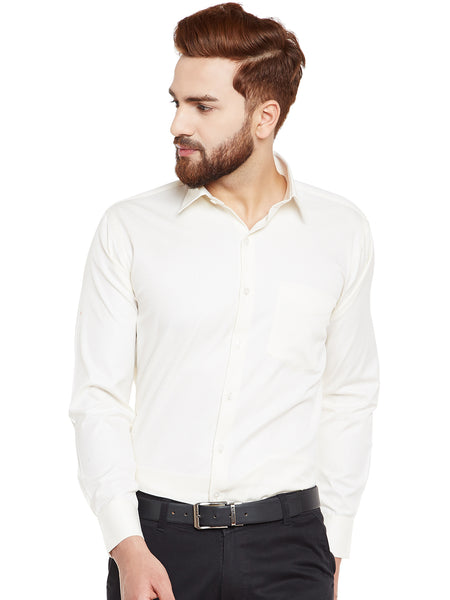 Hancock Cream Solid Pure Cotton Slim Fit Formal Shirt