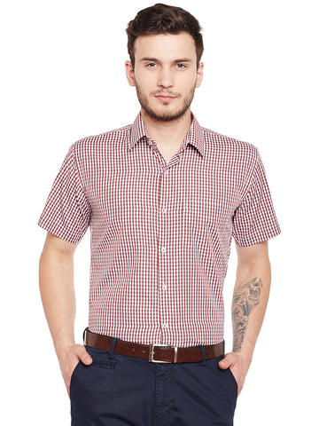 Hancock MaroonChecked Slim Fit Formal Shirt