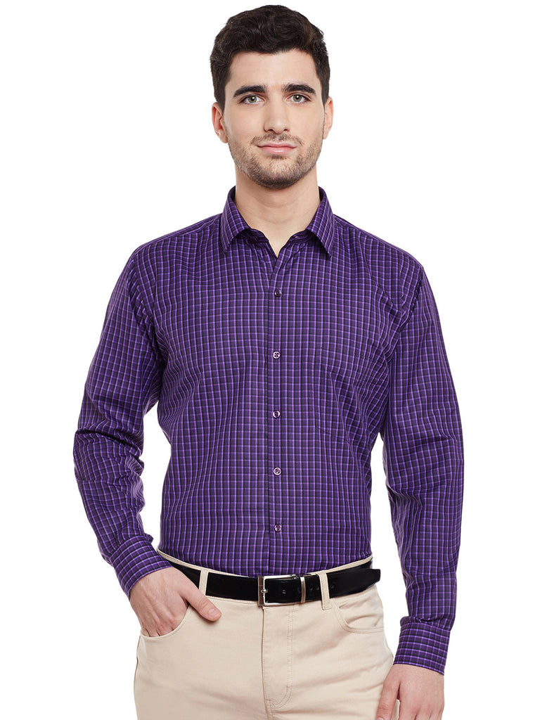 Hancock Purple Checked Slim Fit Formal Shirt
