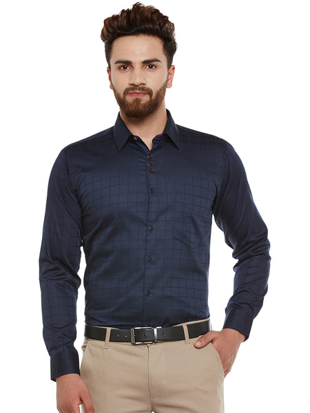 Hancock Navy Self Design Pure Cotton Slim Fit Shirt