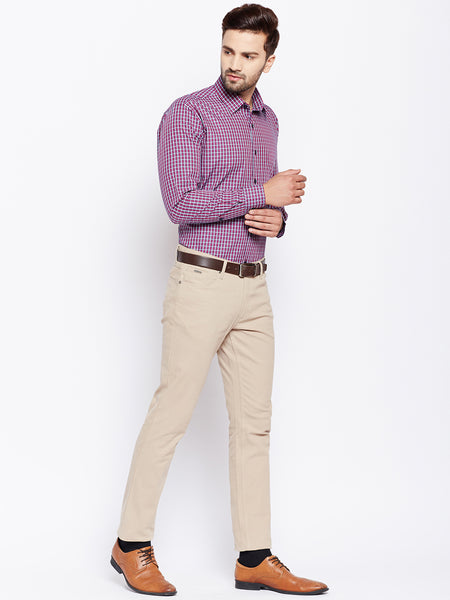 Hancock Navy and Red Checks Pure Cotton Slim Fit Formal Shirt