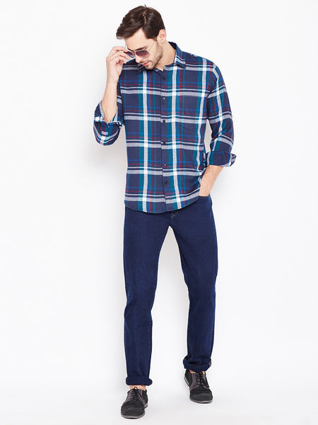 Hancock Blue Checked Pure Cotton Slim Fit Casual Shirt