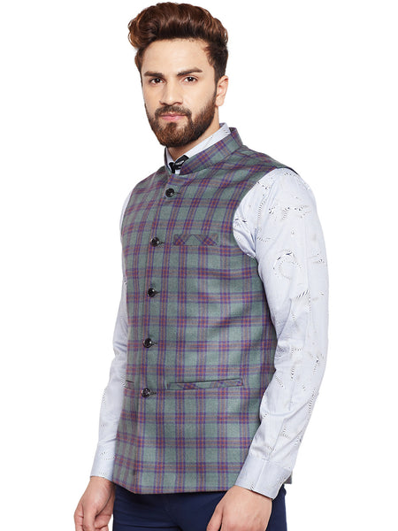 Hancock Green Checked Slim Fit Casual Nehru Jacket