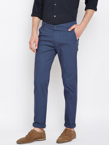 Hancock Bluish Grey Solid Dobby Cotton Stretch Casual Trouser