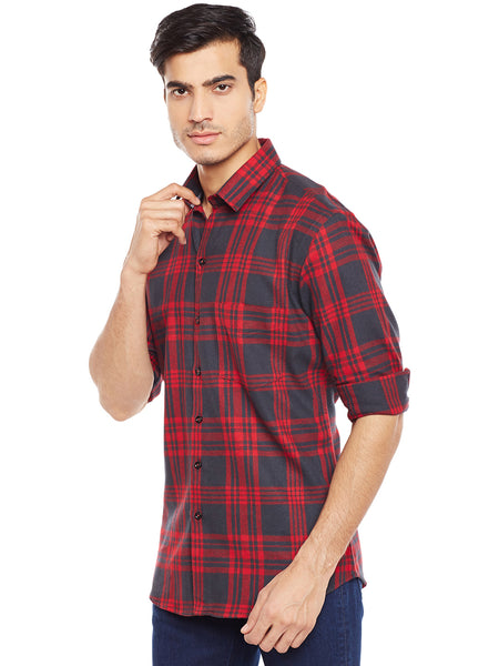 Hancock Red Checked Pure Cotton Slim Fit Casual Shirt
