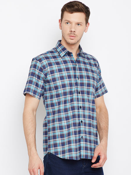 Hancock Navy &  Blue Pure Cotton Checked Slim Fit Casual Shirt