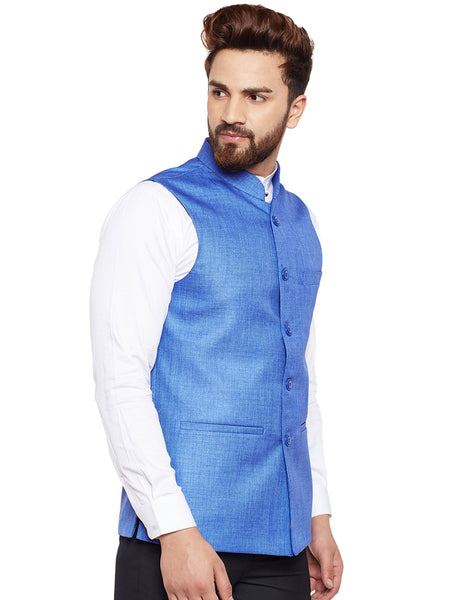 Hancock Blue Solid Slim Fit Formal Nehru Jacket
