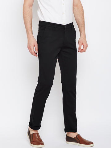 Hancock Black Solid Dobby Cotton Stretch Casual Trouser