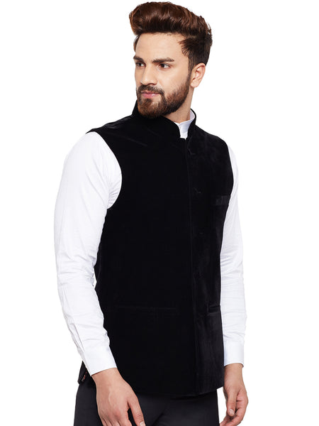 Hancock Black Solid Velvet Slim Fit Party Wear Nehru Jacket