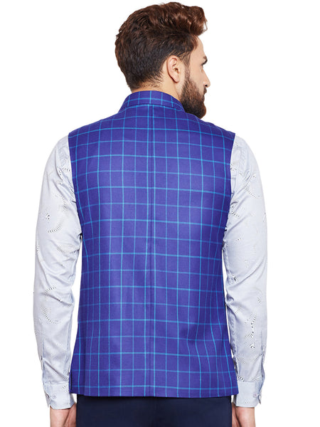 Hancock Blue Checked Slim Fit Casual Nehru Jacket