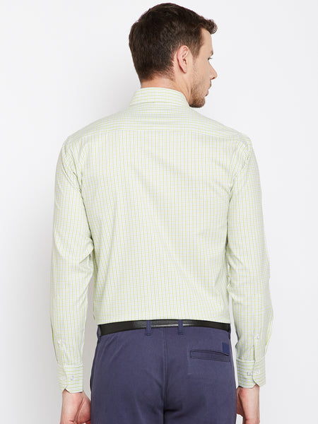 Hancock Green Checked Pure Cotton Regular Fit Formal Shirt