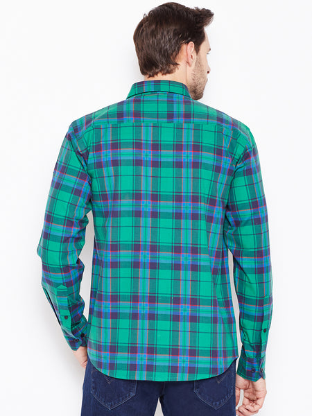 Hancock Green Checked Pure Cotton Slim Fit Casual Shirt