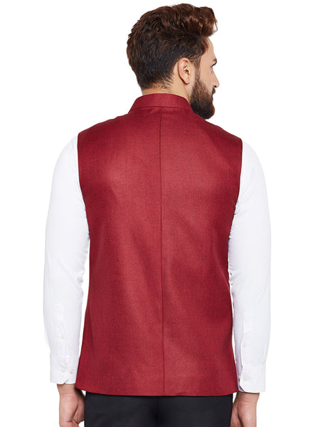 Hancock Maroon Solid Slim Fit Formal Nehru Jacket