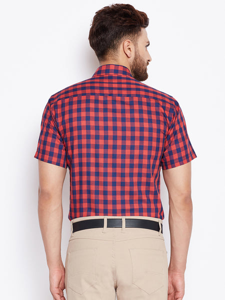 Hancock Navy & Red Checked Slim Fit Pure Cotton Shirt