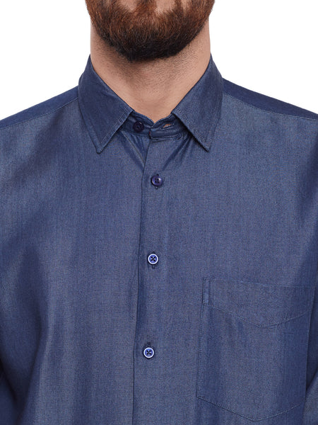 Hancock indigo Blue Solid Pure Cotton Slim Fit Shirt