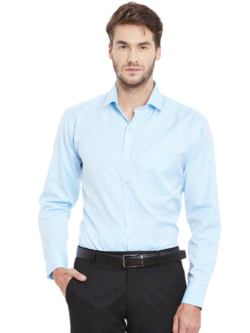 Hancock Sky Blue Solid Slim Fit Formal Shirt