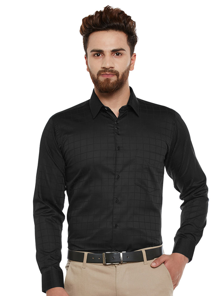 Hancock Black Self Designed Pure Cotton Slim Fit Casual Shirt