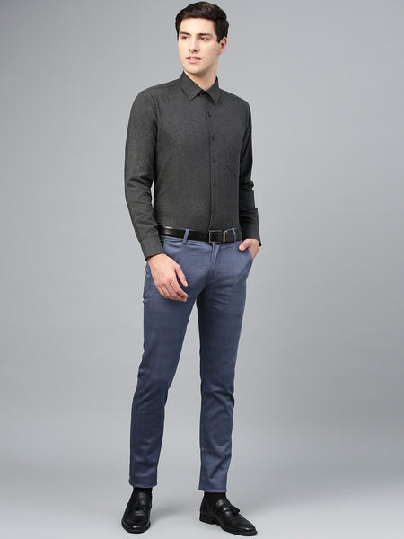 Hancock Men Grey Pure Cotton Solid Slim Fit Formal Shirt