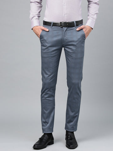 Hancock Men Blue Cotton Checked Slim Fit Casual Trouser