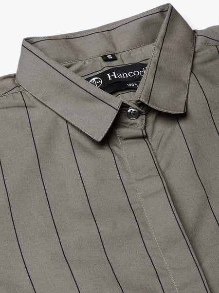 Hancock Women Grey Pure Cotton Striped Slim Fit Formal Shirt
