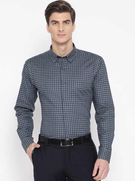 Hancock Men Blue & Grey Cotton Checked Slim Fit Formal Shirt