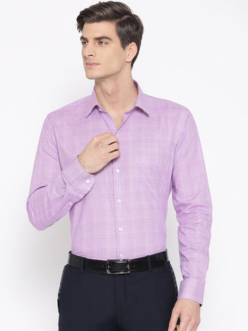 Hancock Men Mauve Pure Cotton Checked Slim Fit Formal Shirt