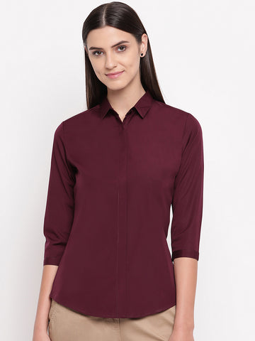 Hancock Women Wine Pure Cotton Solid Slim Fit Formal Shirt