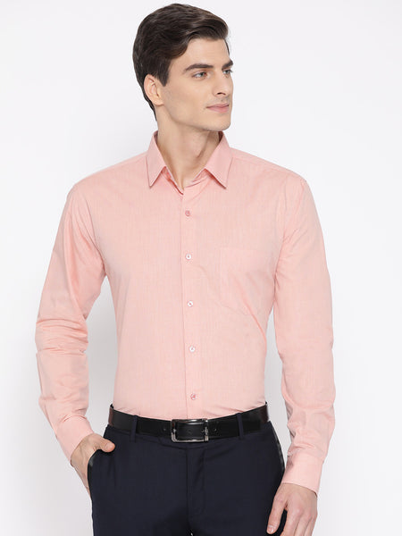 Hancock Men Coral Cotton Solid Slim Fit Formal Shirt