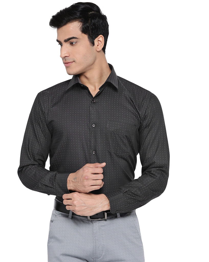 Hancock Men Charcoal Cotton Printed Slim Fit Formal Shirt