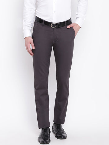 Hancock Men Dark Grey Pure Cotton Solid Slim Fit Casual Trouser