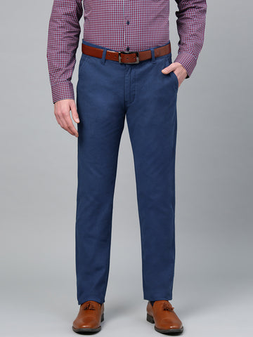 Hancock Men Blue Cotton Solid Slim Fit Casual Trouser