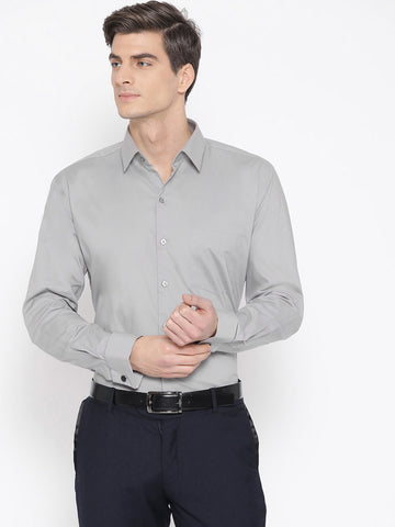 Hancock Men Light Grey Cotton Solid Slim Fit Formal Shirt