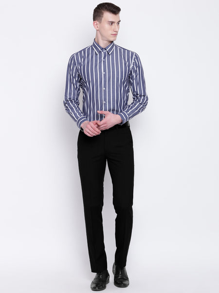 Hancock Men Grey & White Pure Cotton Striped Slim Fit Formal Shirt
