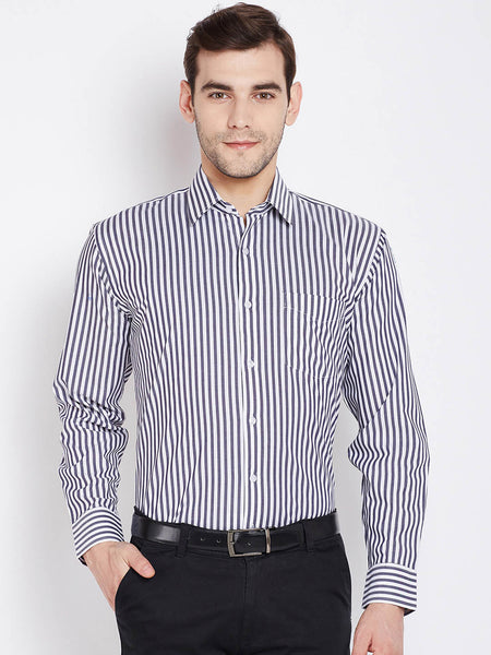 Hancock Men Grey & White Pure Cotton Striped Regular Fit Formal Shirt