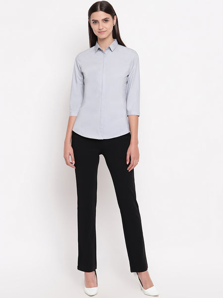 Hancock Women Grey Pure Cotton Solid Slim Fit Formal Shirt