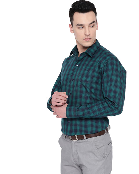 Hancock Men Green & Navy Cotton Checked Slim Fit Formal Shirt