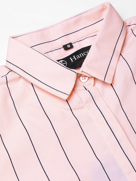 Hancock Women Pink Pure Cotton Striped Slim Fit Formal Shirt