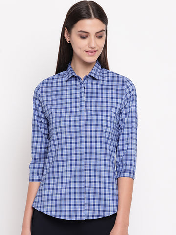 Hancock Women Blue & Navy Pure Cotton Checked Slim Fit Formal Shirt