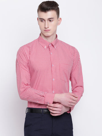 Hancock Men Red & White Pure Cotton Checked Slim Fit Formal Shirt