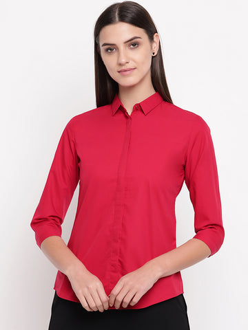 Hancock Women Red Pure Cotton Solid Slim Fit Formal Shirt