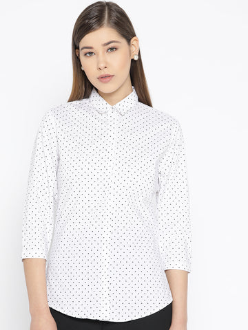 Hancock Women White Pure Cotton Printed Slim Fit Formal Shirt