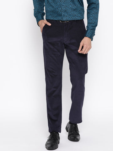 Hancock Men Navy Solid Cotton Stretch Slim Fit Formal Trouser