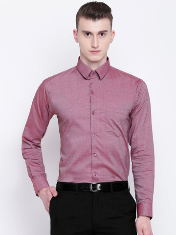 Hancock Men Red Chambray Solid Slim Fit Formal Shirt