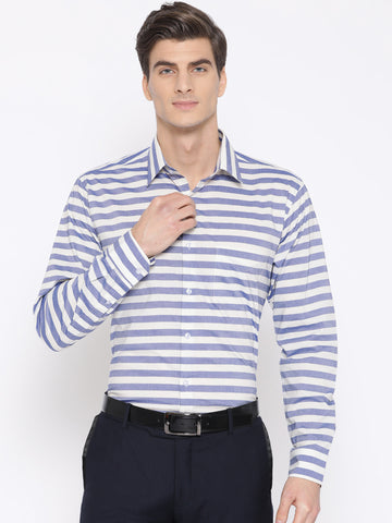 Hancock Men Blue & White Pure Cotton Striped Slim Fit Formal Shirt