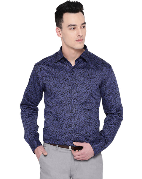 Hancock Men Purple Cotton Printed Slim Fit Formal Shirt
