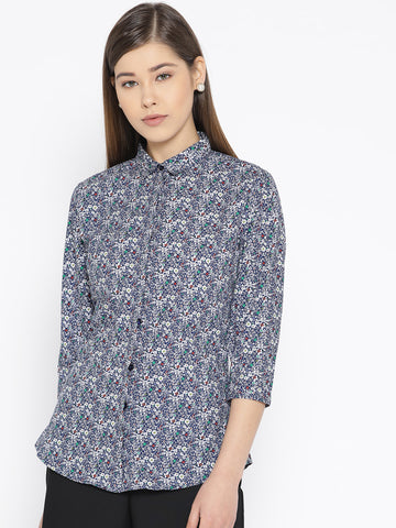 Hancock Women Navy Pure Cotton Printed Slim Fit Formal Shirt